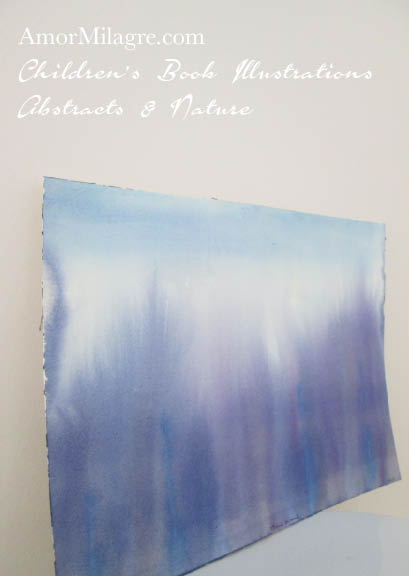 Amor Milagre Blue Woods Purple Blue Trees Color Nature Paintings Watercolor Abstract The Shop at Dove Cottage Children's Book Illustrations beautiful for all spaces ages, nursery amormilagre.com
