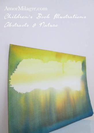 Amor Milagre Clearing Yellow Golden Blue Green Color Nature Paintings Watercolor Abstract The Shop at Dove Cottage Children's Book Illustrations beautiful for all spaces ages, nursery amormilagre.com
