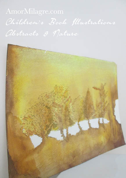 Amor Milagre Gold Leaf Trees Golden Yellow Color Nature Paintings Watercolor Abstract The Shop at Dove Cottage Children's Book Illustrations beautiful for all spaces ages, nursery amormilagre.com