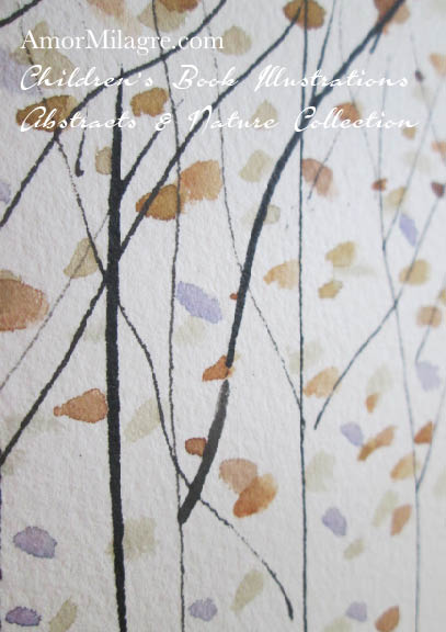 Amor Milagre Golden Lilac Purple Trees 1 Autumn Fall Abstract Watercolor The Shop at Dove Cottage Children's Book Illustrations beautiful all spaces ages, nursery amormilagre.com