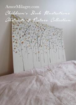 Amor Milagre Golden Lilac Purple Trees Autumn Fall Abstract Watercolor The Shop at Dove Cottage Children's Book Illustrations beautiful for all spaces and ages, especially in a nursery amormilagre.com