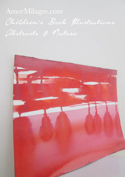 Amor Milagre Love Sun Red Color Nature Paintings Watercolor Abstract The Shop at Dove Cottage Children's Book Illustrations beautiful for all spaces ages, nursery amormilagre.com