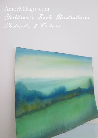 Amor Milagre Misty Meadow Blue Green White Color Nature Paintings Watercolor Abstract The Shop at Dove Cottage Children's Book Illustrations beautiful for all spaces ages, nursery amormilagre.com