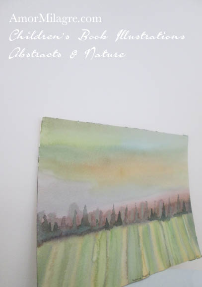Amor Milagre Morning Hayfield View Train Italy France Nature Paintings Watercolor Abstract The Shop at Dove Cottage Children's Book Illustrations beautiful all spaces ages nursery amormilagre.com