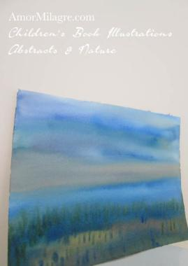 Amor Milagre Mountain Vista Landscape Blue Nature Paintings Watercolor Abstract The Shop at Dove Cottage Children's Book Illustrations beautiful all spaces ages, nursery amormilagre.com