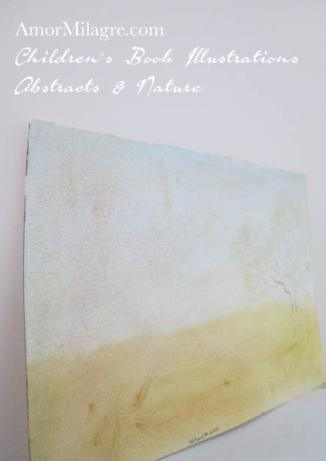 Amor Milagre Nature's Rebirth trees golden yellow Color Nature Paintings Watercolor Abstract The Shop at Dove Cottage Children's Book Illustrations beautiful for all spaces ages, nursery amormilagre.com