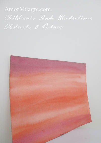 Amor Milagre Rose Sunrise 1 Red Color Nature Paintings Watercolor Abstract The Shop at Dove Cottage Children's Book Illustrations beautiful for all spaces ages, nursery amormilagre.com