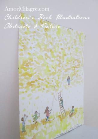 Amor Milagre The Children's Tree yellow Autumn Fall Nature Paintings Watercolor Abstract The Shop at Dove Cottage Children's Book Illustrations beautiful all spaces ages, nursery amormilagre.com 1