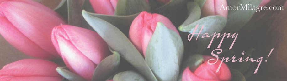 Amor Milagre Pink Tulips Flowers Happy Spring Garden The Shop at Dove Cottage Art & Design amormilagre.com