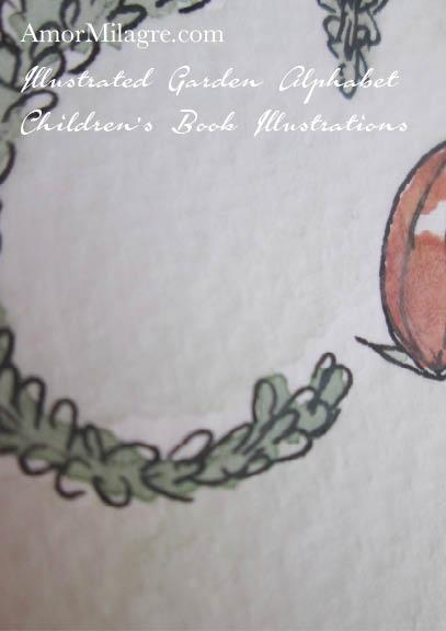 Amor Milagre Illustrated Garden Alphabet Letter Word Compassion topiary 2 leaf flower amormilagre.com