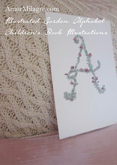 Amor Milagre Illustrated Garden Alphabet Letter A Pink Flowers 7 amormilagre.com