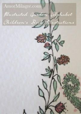 Amor Milagre Illustrated Garden Alphabet Letter B Pink Flowers 1 amormilagre.com