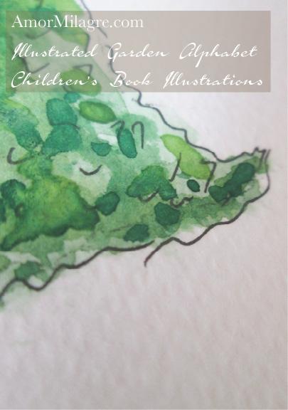 Amor Milagre Illustrated Garden Alphabet Letter H green leaf amormilagre.com