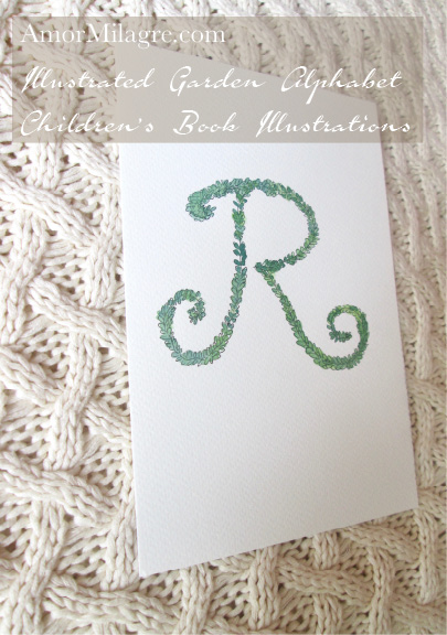 Amor Milagre Illustrated Garden Alphabet Letter R green leaf 3 amormilagre.com