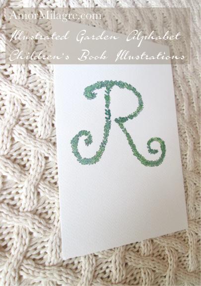 Amor Milagre Illustrated Garden Alphabet Letter R green leaf 3 amormilagre.com