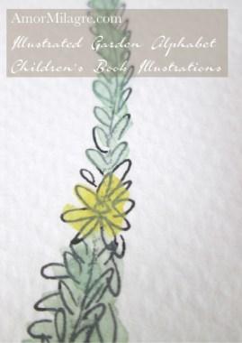 Amor Milagre Illustrated Garden Alphabet Letter T yellow flower 1 amormilagre.com