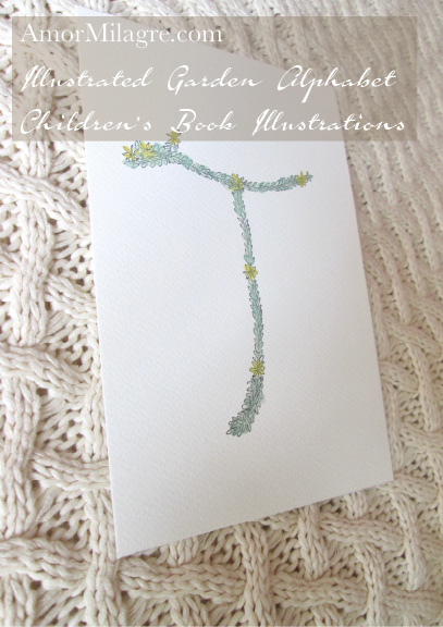 Amor Milagre Illustrated Garden Alphabet Letter T yellow flower amormilagre.com