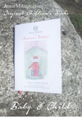 Amor Milagre Presents Antonia's Bakery organic original children's book amormilagre.com Baby & Child Responsibly Handmade Non-toxic book collections. Peaceful elephant, organic vegan. Organic soft toys.
