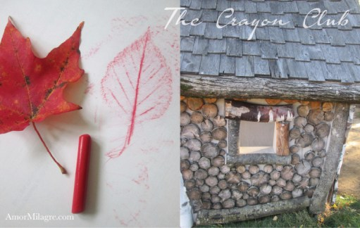Amor Milagre Happy Halloween Mood Crayon Club Kids Art Class 2018 Autumn Fall Art Design Organic Vegan Baby & Child Collection amormilagre.com leaf rubbings drawings children's art