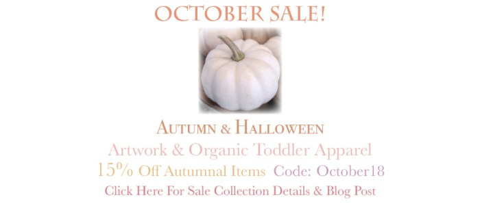 Amor Milagre The Shop at Dove Cottage October Autumn Halloween 2018 Sale 1 Baby & Child Collection Art Design Books Organic Apparel Organic Cotton Toddler Tees Nursery Watercolor Paintings amormilagre.com