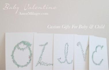 Amor Milagre Baby Valentine Art Print Sale 2019 Organic Ethical Vegan Gifts Baby & Child Olive alphabet letters custom amormilagre.com