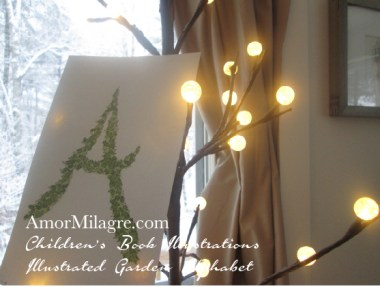 Amor Milagre Illustrated Garden Alphabet Letter A Green Leaf 1 Christmas Winter Watercolor Original Painting Art Print Stationery Cottage Baby & Child Nursery illustration artwork amormilagre.com