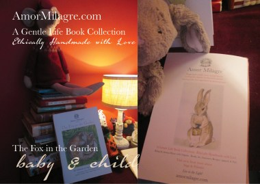 Amor Milagre Presents The Fox in the Garden ethical organic original children's book amormilagre.com nursery bookshop bunny blueberries vegetables vegan evening