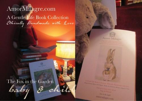 Amor Milagre Presents The Fox in the Garden ethical organic original children's book amormilagre.com nursery bookshop bunny blueberries vegetables vegan evening