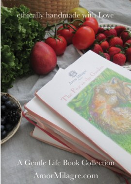 Amor Milagre Presents The Fox in the Garden ethical organic original children's book amormilagre.com nursery bookshop bunny vegetables vegan grocery market peek a boo