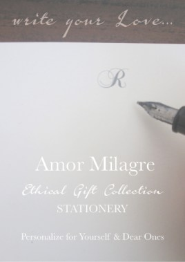 Amor Milagre Ethical Personalized Romantic Stationery Collection & Sets amormilagre.com love letter Paperie sustainable paper pen nib calligraphy initials letter notecards
