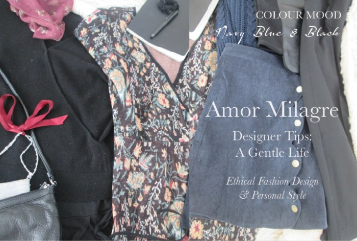 Amor Milagre Spring Fashion Personal Style 2019 navy Blue & classic black ocean colour mood wardrobe Ethical Handmade Gift Shop Art Apparel Organic Vegan Women's design amormilagre.com