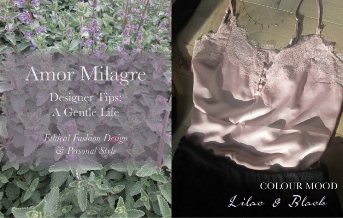 Amor Milagre Spring Fashion Personal Style 2019 Lilac Purple & black silk lace camisole colour mood Ethical Handmade Gift Shop Art Organic Women's amormilagre.com