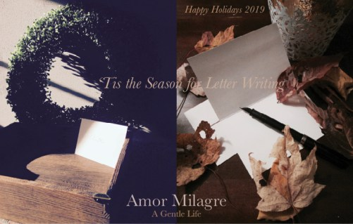 Amor Milagre Ethical Stationery Collection 'Tis the Season for Writing Letters Ethical Gift Shop amormilagre.com Autumn Leaves Calligraphy Pen Mailbox Holiday Boxwood Wreath Love Letter Family Holiday Greeting Cards
