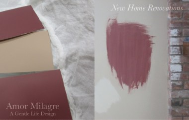 Amor Milagre New Home Renovation Design Diaries 1st Dusty Days 2019 Ethical Organic Gift Shop Handmade Gift Shop Art custom paint colours deep red purple living room painted parged fireplace amormilagre.com