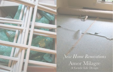 Amor Milagre New Home Renovation Design Diaries 1st Dusty Days 2019 Ethical Organic Gift Shop Handmade Gift Shop Art demo removing old carpet take out window lattice amormilagre.com