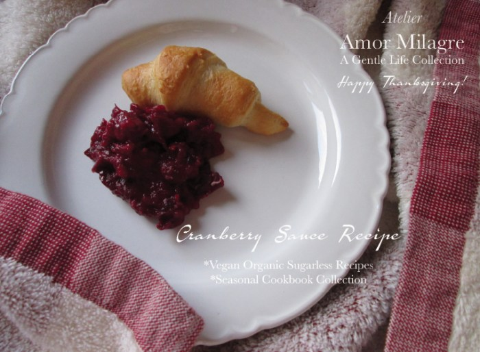 Amor Milagre Thanksgiving Cranberry Sauce Recipe- Quick, Easy, Organic, Vegan, Sugarless Ethical Handmade Gift Shop amormilagre.com