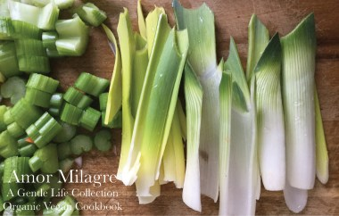 Amor Milagre A Gentle Life Leeks Children and parent lunch recipe organic vegan cookbook snowy flower Gift Shop amormilagre.com