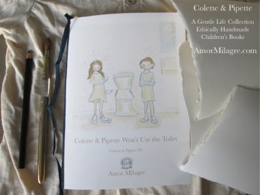 Amor Milagre Colette & Pipette Won't Use the Toilet New Ethically Handmade Children's Book amormilagre.com