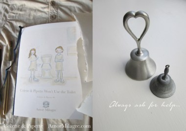 Amor Milagre Colette & Pipette Won't Use the Toilet New Ethically Handmade Children's Book bells ask for help amormilagre.com