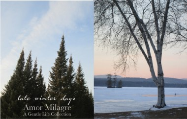 Amor Milagre Late Winter Days 2020 Green Soup Organic Vegan Cookbook Ethical Gift Shop Handmade Art Baby & Child Parent Family snowy mountains amormilagre.com