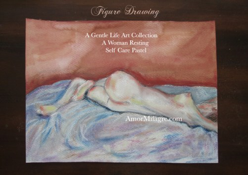 Amor Milagre A Woman Resting, Self Care Pastel Figure Drawing, Ethically made Art Prints, Greeting Cards 1 amormilagre.com