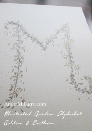 Illustrated Garden Alphabet Letters Custom Golden Amor Milagre 8