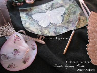 Amor Milagre Golden & Earthen White Spring Moth artwork Nursery Art Butterfly Insect A Gentle Life Collection amormilagre.com