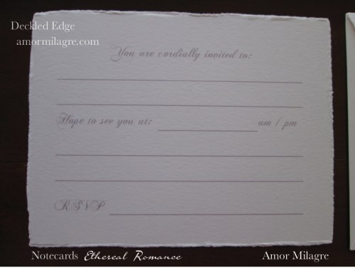 Amor Milagre Ethereal Romance Deckled Edge Notecards Pink Cream Stationery Invitations amormilagre.com