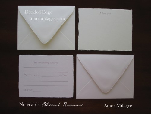 Amor Milagre Ethereal Romance Deckled Edge Notecards Pink Cream Stationery greeting cards 3 amormilagre.com