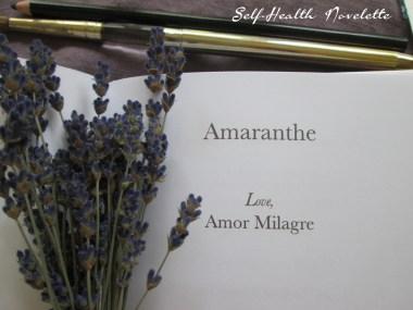 Amaranthe Novel by Amor Milagre Self-Health Book Lavender French NYC 11 amormilagre.com