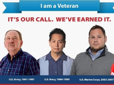 Veterans include Coast Gyard, National Guard, Reserves, and Spouses.