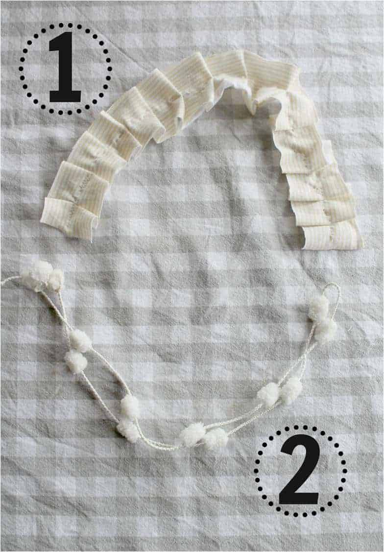 Steps 1 and 2 to make your DIY 15 minute  Birthday Girl Necklace. In Step 1 you use knit or jersey material to create a pleated effect and in Step 2 you attach the bottom part of the necklace.