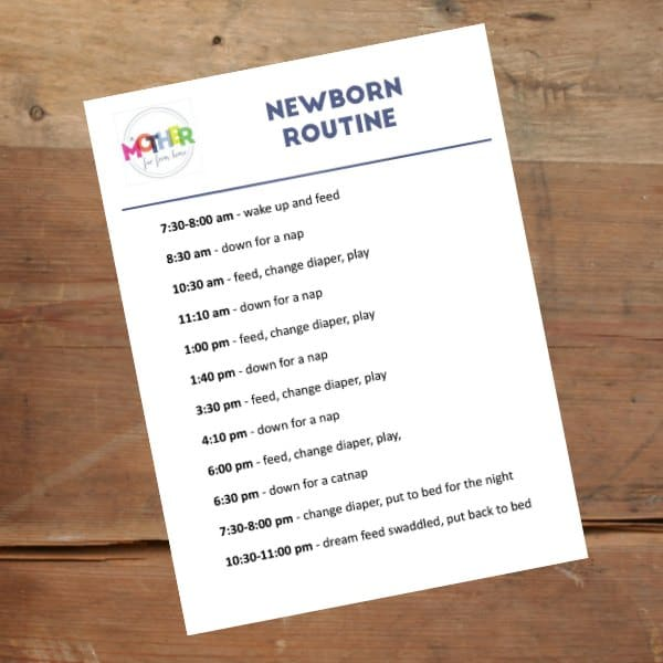 sample newborn routine printable