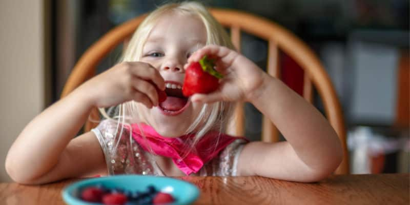 toddler eating a strawberry snack at a family table